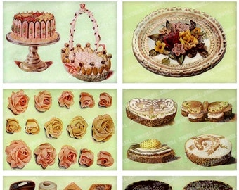 GATEAUX - Digital Printable Collage Sheet - French Pastries, Petits Fours & Marzipan Wedding Cakes from Antique Victorian Bakery Prints