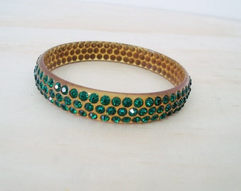 1920s Celluloid Emerald Green Rhinestone Bracelet- Perfect -