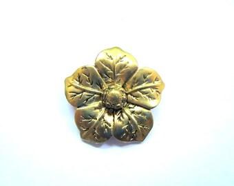 flower pendant, 36mm, antique gold metal alloy