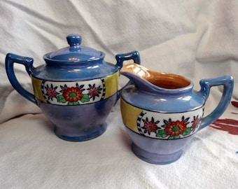 SALE Lusterware Cream and Sugar/ Floral Cottage Chic Decor