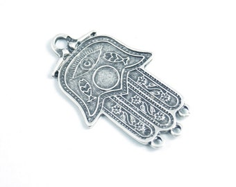 1pc- Matte Oxidized Silver Plated Base Hand of Hamsa Connector - 53x30mm-(418-028SP)