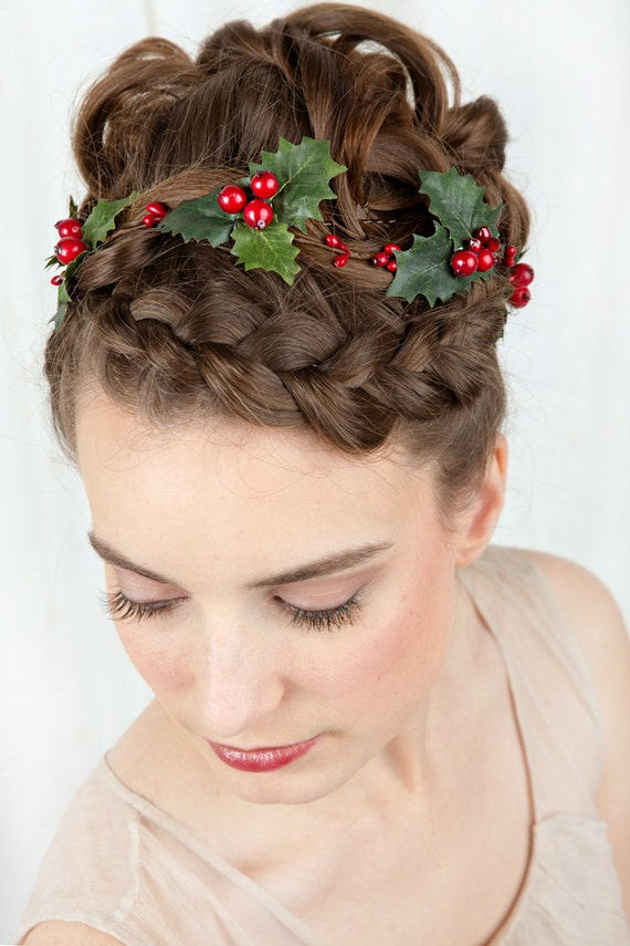 Accessory For Hair: Holiday Hair Accessories Holly Hair Clip Christmas By