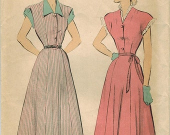 1940s Advance 4894 Vintage Sewing Pattern Misses Shirtwaist Dress Size 14 Bust 32