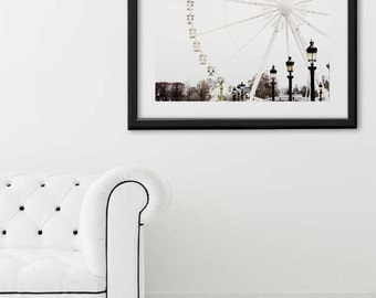 "Paris Print, ""Ferris Wheel"" Extra Large Wall Art, Paris Photography Art Print, Oversized Art, Fine Art Photography Paris Decor"