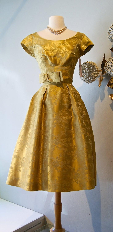 Vintage 1960s Golden Brocade Cocktail Dress 60s Gold Party