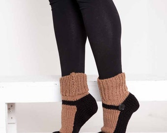 Knit Slipper Sock Adult Mary Jane Slippers Sox Brown House Slippers Womens Slippers Home Slippers Black House Shoes Home Shoes