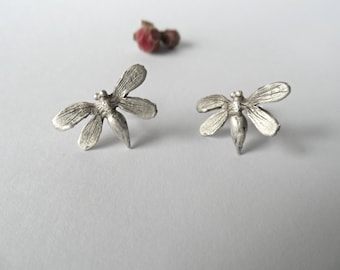 Sterling silver bee earrings-Bee stud earrings-Bee jewelry -Inspired by nature  bee earrings-Incect earrings -Gift for her