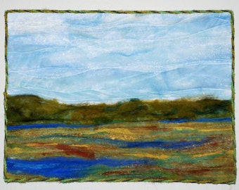 Fiber Art Landscape Quilted Wall Hanging Landscape Quilt, Blue Green Wall Hanging