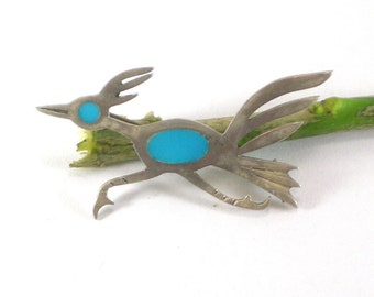 Silver Roadrunner Bird Brooch Pin - Unmarked Sterling Silver Turquoise Blue Glass Inlay Native Bird - Vintage Jewelry