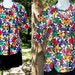 Vintage Shirt - Floral Jacket  - Short Sleeves Blouse - Clear Sequins Bright Flowers - USA Good Times