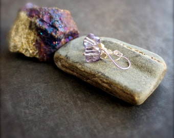Lavender Dangle Drop Earrings - Purple Mystic Quartz Gemstone, Sterling Silver, Boho Jewelry