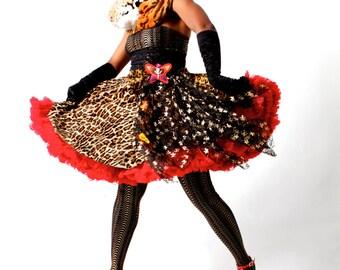 Leopard Lace Flounce Skirt