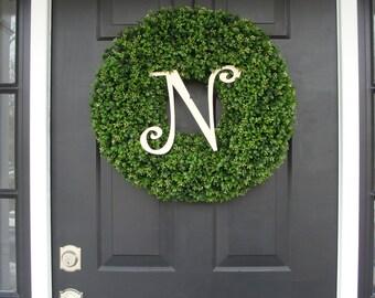 Monogram Boxwood Wreath, Year Round Wreath, Wedding Wreath, Monogram Wreath, Wedding Gift, Personalized Home Decor, Wall Decor, Front Door