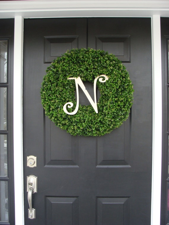 Monogram Boxwood Wreath, Year Round Wreath, Wedding Wreath, Monogram Wreath, Wedding Gift, Personalized Home Decor, Wall Decor, Front Door