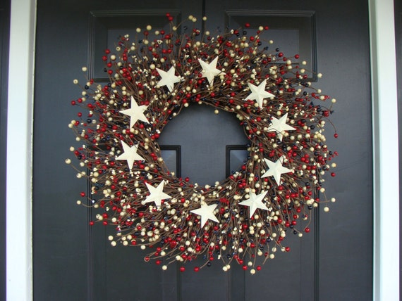 RED WHITE and BLUE Stars and Berry Wreath, Fourth of July Decor, Summer Wreath, Memorial Day Decor, July 4th Decoration
