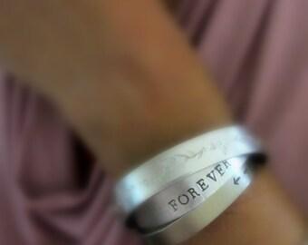 Custom hand stamped cuff bracelet, Aluminum open cuff bracelet