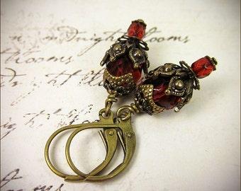 Garnet Red Earrings, Renaissance Jewelry, Victorian, Medieval Costume, SCA Garb, Tudor, Anne Boleyn, Bridal, Bridesmaid, Ren Faire, Rhiannon