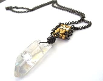 Crystal and Brass Beaded Necklace, Icy Gemstone, Rustic Jewelry by Chelsea Girl Designs