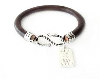 Round Leather Bracelet - Personalized Handstamped Sterling Silver Tag - Brown Bracelet - The Basics: 6mm Single Wrap