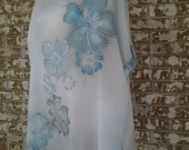 Woman clothing, wearable art, hand painted silk tunic, oversized, one size, pastel blue flower patterns
