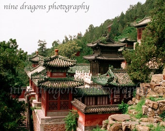 Landscape Photography, Chinese Rooftops Boho Art, Chinoiserie Asian Art, Architectural Art, Mountain Landscape Print, Boho Wall Art