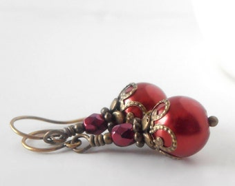 Red Pearl Bridesmaid Earrings Antiqued Bronze Vintage Style Wedding Jewelry Sets Red Bridesmaid Jewelry Beaded Dangles Bridal Party Gifts
