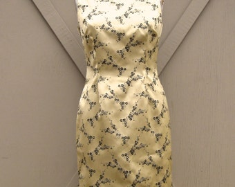 vintage Barami Couture Gold Asian Floral Print  Wiggle Dress
