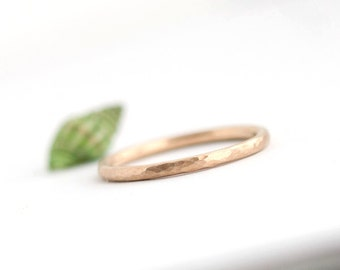 Lina - Handmade Solid 14k Yellow or Rose Gold Band Wedding Ring Hammered Brushed Matte Textured Upto Size 12