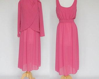 70's Chiffon Dress & Jacket Ensemble / Bright Pink / Fuchsia / Medium