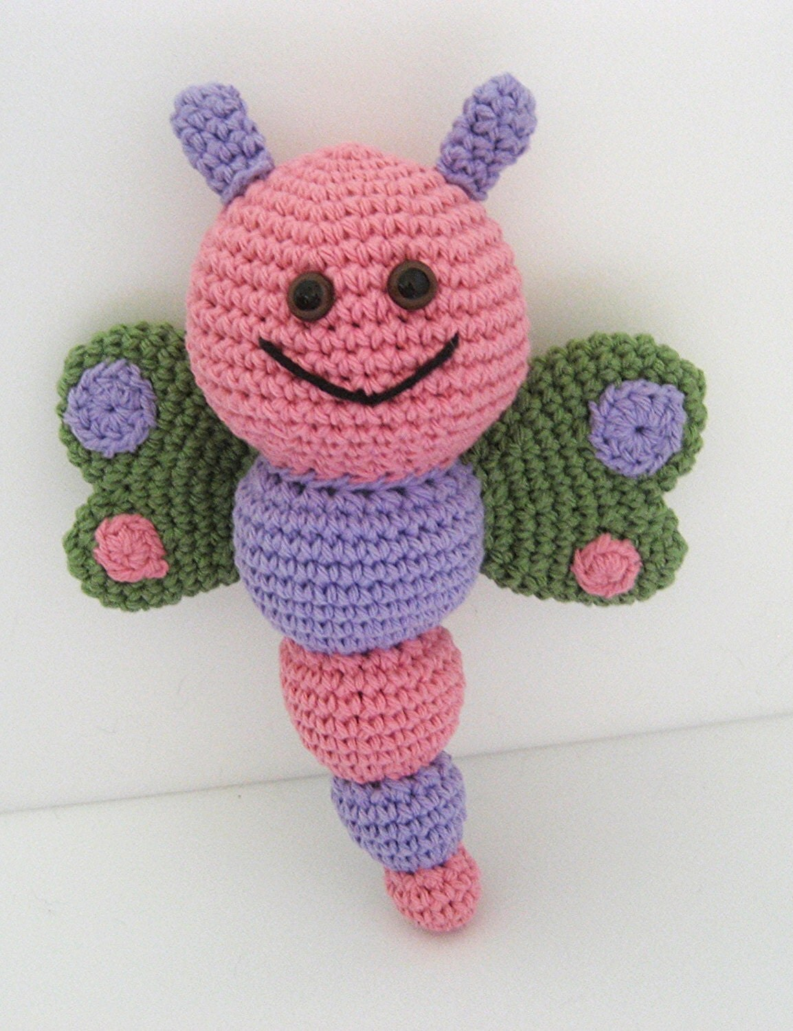 Free Amigurumi Christmas Ornament Patterns : Sale Crochet Butterfly Baby Rattle Pink Purple Green Baby