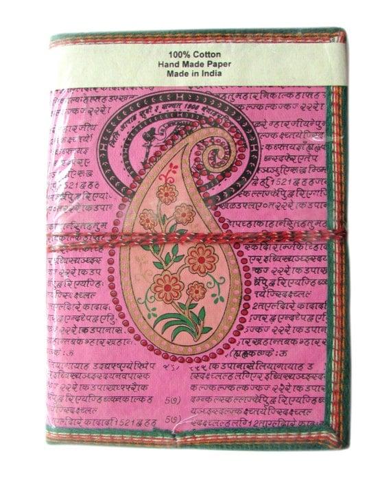 Large Indian Paisley Art Journal, Light Pink, Blank Pregnancy Book, Special Memories Journal, Maternity Gift, Keepsake, Big Plain Notebook