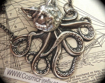 Silver Foxtopus Necklace Half Fox / Half Octopus Fox Necklace Octopus Necklace Handcrafted Steampunk Necklace Art Jewelry