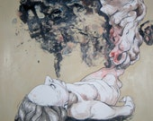 50% OFF - Breathe - Ink, pen and watercolor on paper - Original drawing. Nude, dark art, surrealist, figurative drawing