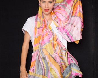 Silk shawl- Brave Neon Stripes/ Hand Painted Silk Scarf. Pink Yellow Scarf. Unique Handmade scarf. Bright Summer Scarf. Luxurious Scarves/