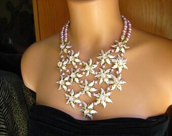 Delicate Pink Stacked Fantasy Flower Bib Statement Necklace, Runway Look