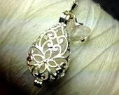 Worry Locket - quartz teardrop locket / april necklace / silver locket / quartz crystal / quartz necklace / locket necklace