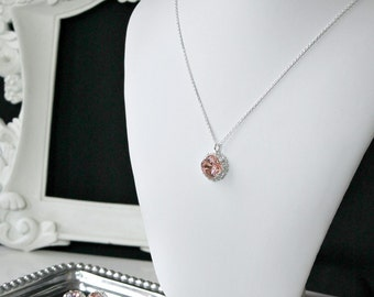 Vintage Pink Swarovski Crystal Framed with Halo Crystals on a Silver Chain, Pendant Necklace