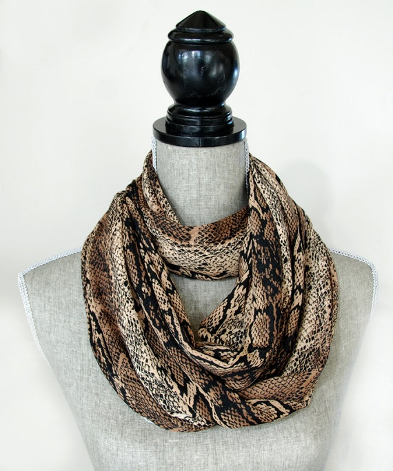 fabric infinity scarf jersey knit faux snakeskin infinity