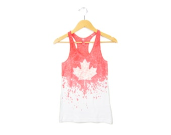 "Maple Leaf Tank - Original ""Splash Dyed"" Canadian Flag Scoop Neck Racerback Tank Top in Red and White - Women's Size S-2XL"