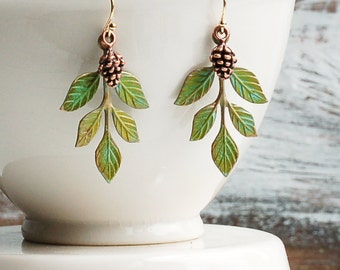 Pine Cone EARRINGS Tree Branch Forest Earrings Rustic Woodland Wedding Romantic Whimsical