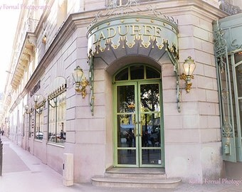 Paris Photography, Laduree Patisserie Macaron Shop, Champs Elysees Laduree, French Macaron Tea Shop, Paris Laduree Dreamy Pastel Photograph