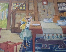 Vintage Nursery Illustration - Goldilocks eating Porridge -Frederick Richardson - 1920s ephemera