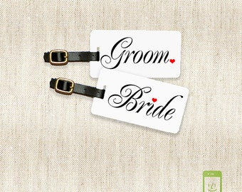 Luggage Tag set Bride and Groom  Personalized with Address Message or Quote Set