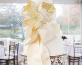 """Hollywood Regency Golden Scroll and Clear 14"""" Cake Stand MADE TO ORDER"""