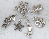 6 BEACH Theme Charms - Assorted, Each One Different - Antique Silver - By the Sea Collection - Sea Turtle Seahorse Mermaid Starfish Palm