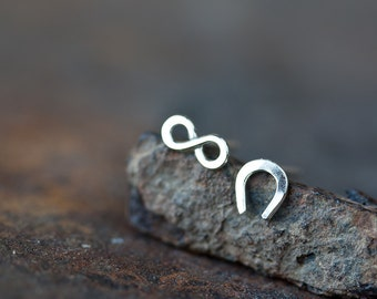 Infinite Luck - Tiny Stud Earrings, solid sterling silver, horseshoe and infinity symbol, Unisex good luck gift for man, woman