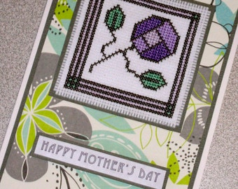 Handmade MacIntosh Rose Style Cross Stitch Mother's Day Greetings Card In Purple