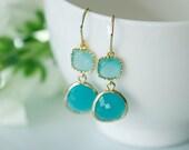 Aqua earrings, Mint earrings, Mint and aqua gold earring, aqua blue jewelry, Aqua teardrop earring, Bridesmaids earrings,  Turquoise earring