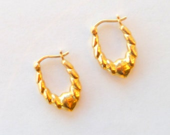 Gold Pierced Earrings - Wedding - Mini Doorknocker Style - Classic Timeless - Ridges Sparkle Pattern - Recycled - UNIQUE