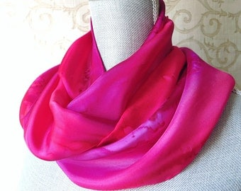 Silk Scarf Hand Dyed in Rose and Fuschia